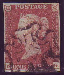 68915 - 1841 1d pl.16 (NG)(SG8). Fine used lettered NG with go...