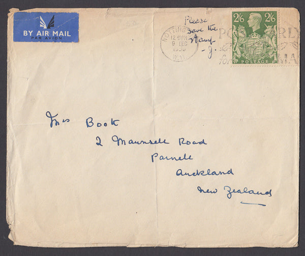 68989 - 1951 MAIL NOTTINGHAM TO NEW ZEALAND 2/6D YELLOW-GREEN (SG476b). Larger envelope (vertical creas...