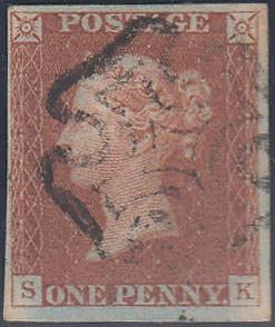 69046 - PL.28(SK)SG8). A fine used 1842 1d imperf pl.28 le...