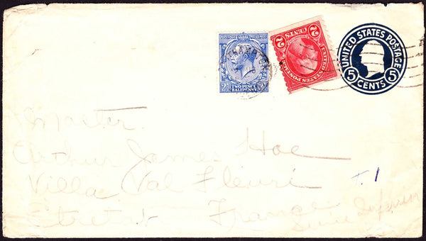69154 - CIRCA 1930 US POSTAL STATIONERY ENVELOPE PLUS US AND GB STAMPS SOUTHAMPTON TO FRANCE. Envelope with US 5 cent darkblue postal stationery e...