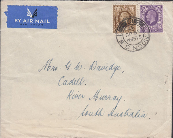 69160 - 1937 MAIL LONDON TO AUSTRALIA. Envelope London to River M...