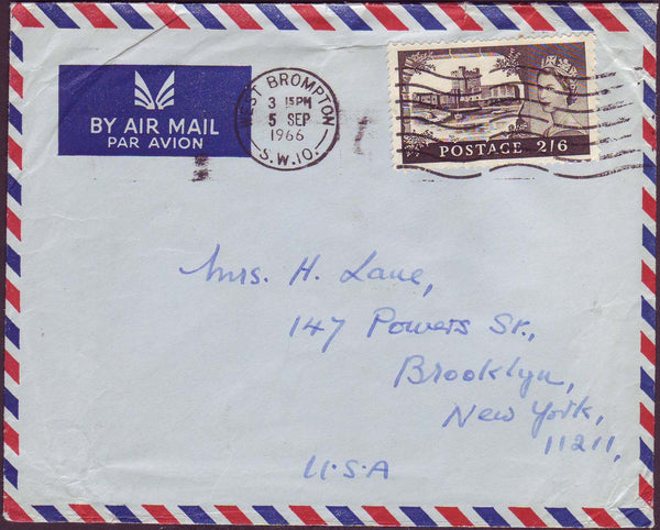 69299 - 1966 envelope London to New York with 2/6d Castle ...