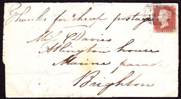 "69495 - 1849 ""THANKS FOR CHEAP POSTAGE"" MANUSCRIPT ON LETTER. 1849 entire..."