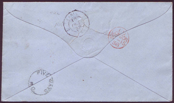 69502 - 1858 MAIL BIRMINGHAM TO PARIS/'FIVE WAYS R.O.' UDC. 1858 envelope Birmingham to Paris with...