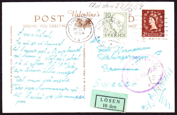 69528 - 1954 UNDERPAID MAIL LIVERPOOL TO SWEDEN. Post card Liverpool to Sweden wit...