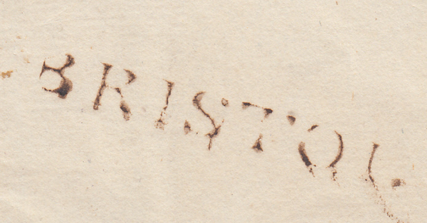 69605 - 'BRISTOL' STRAIGHT LINE HAND STAMP. Circa 1790 letter College Green Bristol to Thornb...