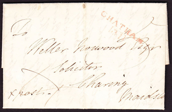 69671 - CROSS POST/KENT. 1819 letter Chatham to Charing Ma...