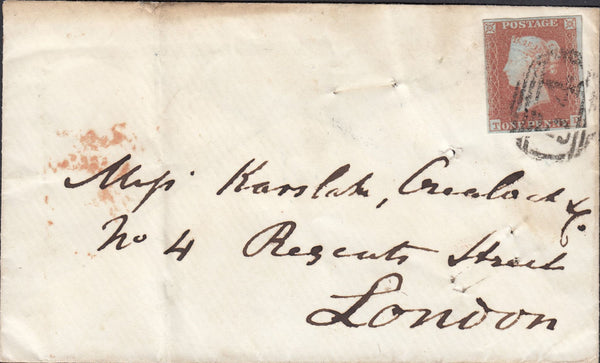69758 - SUSSEX/PLATE 98 (TD). 1850 envelope Battle to London with four m...