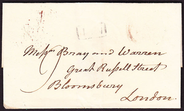 69760 - 1827 SUSSEX/'BATTLE PY POST' HAND STAMP(SX76). Wrapper Battle to Bloomsbury with fai...