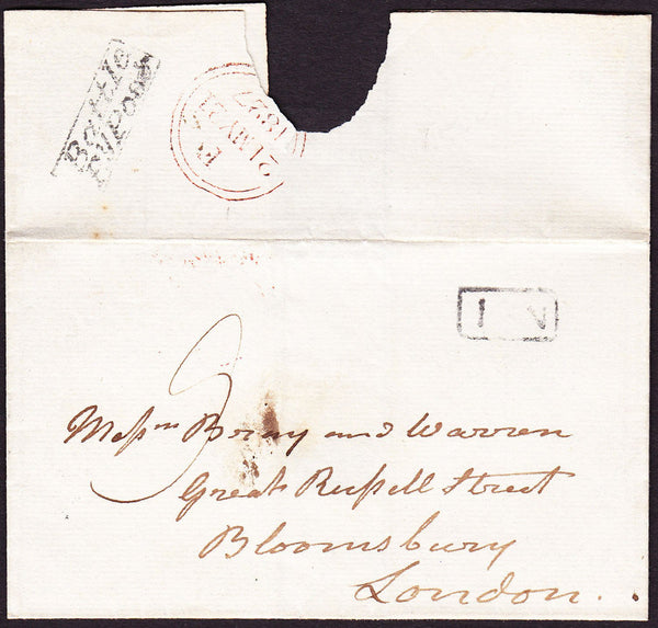 69761 - 1827 SUSSEX/'BATTLE PY POST' HAND STAMP(SX76). Wrapper Battle to London with good bo...