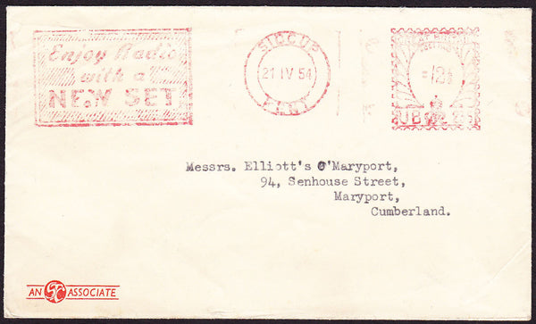 69841 - ADVERTISING. 1954 envelope Sidcup to Maryport with...