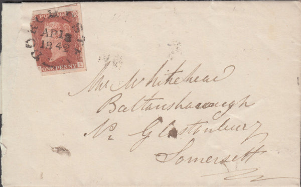 69889 - 1842 'DORCHESTER' TOWN CANCELLATION ON COVER (SPEC B1va...