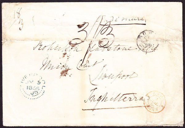69983 - LIVERPOOL DOTTED DATESTAMP. 1856 envelope (creased...
