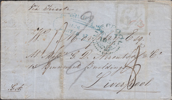 70016 - 1856 'LIVERPOOL DOTTED' DATE STAMP. Entire, some faults