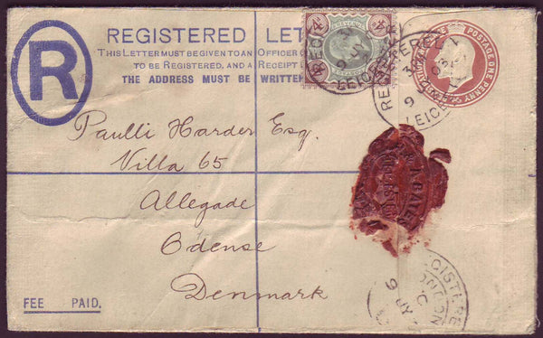 70317 - 1903 REGISTERED MAIL LEICESTER TO DENMARK. KEDVII 3d pale bro...