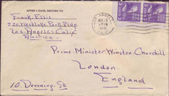 70380 - MAIL TO WINSTON CHURCHILL. 1941 envelope Los Angel...