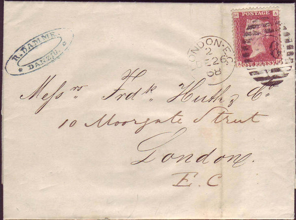 70443 - 1868 letter Danzig to London (Huth correspondence)...