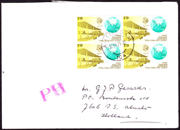 70508 - 1979 envelope with four x 1969 1/9d First Flight t...
