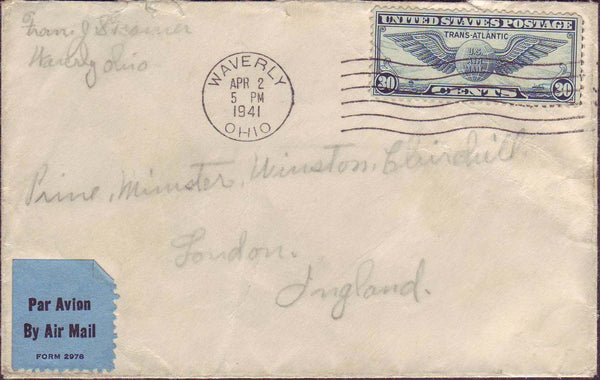 70526 - 1941 MAIL TO WINSTON CHURCHILL. Envelope addressed...