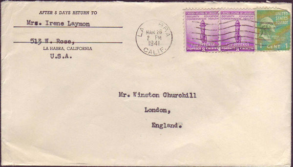 70528 - MAIL TO WINSTON CHURCHILL. 1941 envelope addressed...