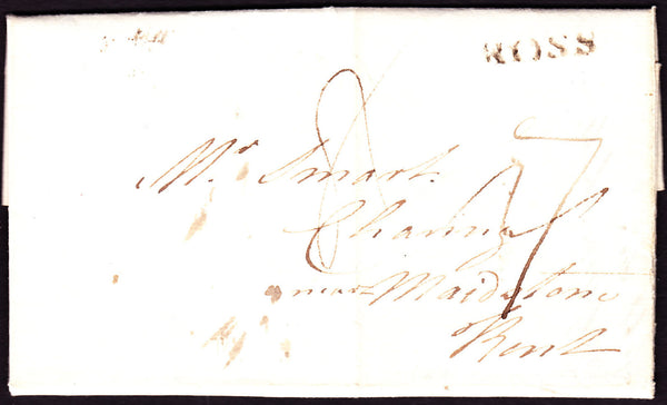 70563 - 1797 HEREFORDSHIRE/'ROSS' HAND STAMP (HF372). Letter Ross to Charing Kent da...