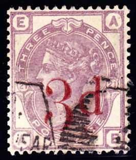 70598 - 1883 3d on 3D lilac (SG159). Fine used lettered AE...