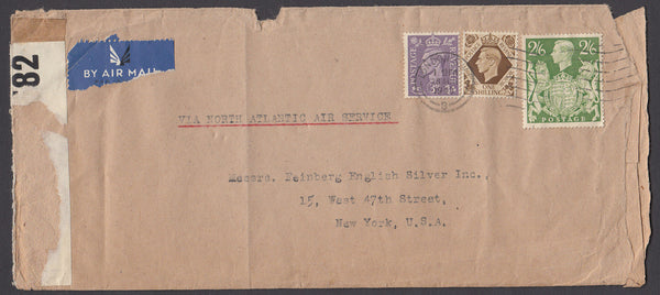 70625 - 1943 MAIL LONDON TO USA 2/6D YELLOW-GREEN. Large envelope (227x101), some faults, London to New York wit...