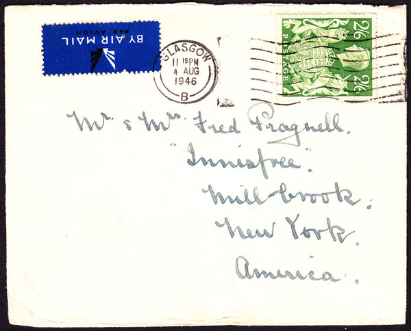 70665 - 1946 MAIL GLASGOW TO AMERICA 2/6D YELLOW-GREEN (SG476b). Envelope Glasgow to New York with KGVI 2/6d y...
