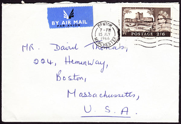 70675 - 1966 envelope Manchester to Boston USA with 2/6d B...