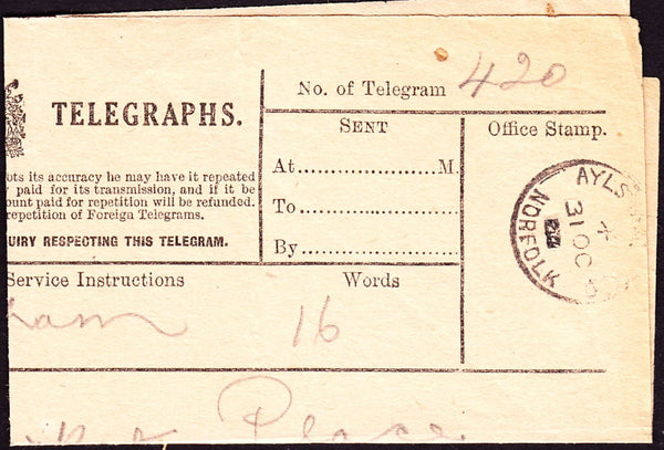 70695 - POST OFFICE TELEGRAPH/NORFOLK. A fine example canc...