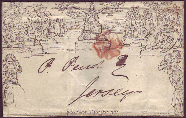 70747 - 1840 1D MULREADY WRAPPER LONDON TO JERSEY. A good used 1d Mulready wrapper