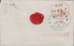 70796 - 1846 GLOS/MONTPELLIER HAND STAMP IN RED/PLATE 60 (AL)(SG9). 1846 envelope Cheltenham to Edinburgh with v...