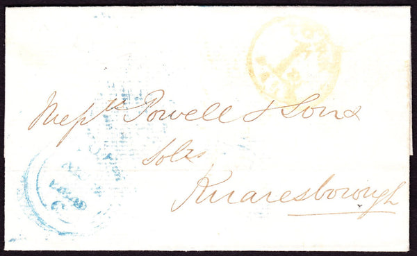 70834 - YORKSHIRE/YORK UNIFORM PENNY POST HAND STAMP (YK3345). 1849 wrapper York to Knaresborough post...