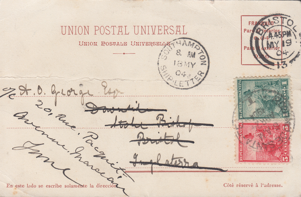 70896 - 1904 MAIL FROM ARGENTINA RE-DIRECTED TO FRANCE VIA BRISTOL. . 1904 post card from Argentina (creased) t...