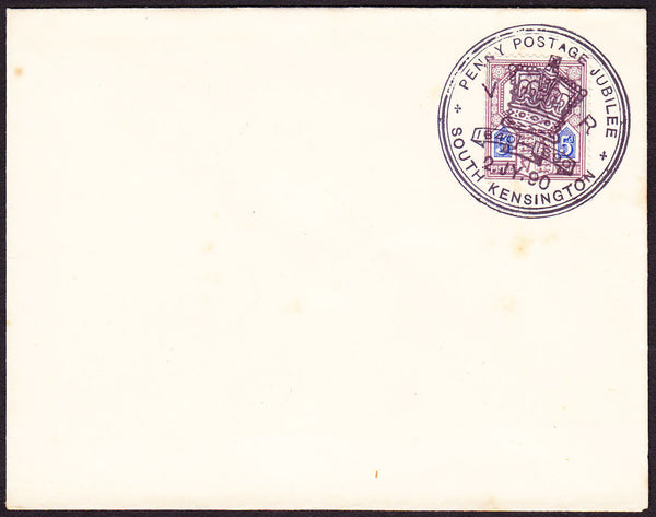 71009 - 1890 PENNY POSTAGE JUBILEE/5D JUBILEE (SG207a) SOUTH KENSINGTON CANCELLATION ON ENVELOPE.