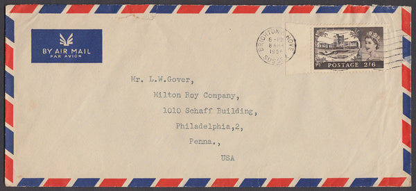 71036 - 1956 MAIL BRIGHTON TO USA 2/6D CASTLE ISSUE. Large envelope (I228x102) Brighton to Philadelphia with 2/6d C...