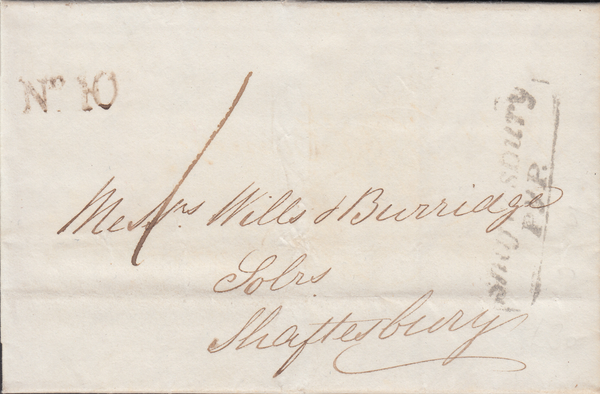 71050 - 1837 DORSET/SHAFTESBURY PENNY POST. Letter Milborne Port to Shaftesbury d...