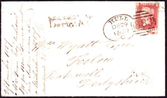 71100 - RAILWAYS/SPOON CANCEL. 1857 envelope Hull to Bakew...