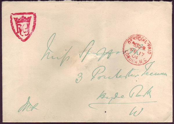 71149 - OFFICIAL MAIL. 1904 envelope used locally in Londo...