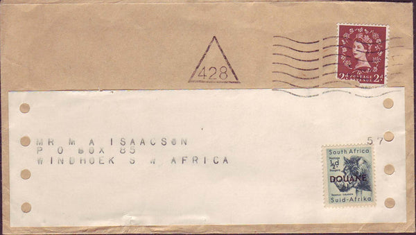 71277 - CIRCA 1965 MAIL UK TO SOUTH AFRICA SOUTH AFRICA CUSTOMS STAMP. Envelope to Windhoek South Africa with 2d Wildin...
