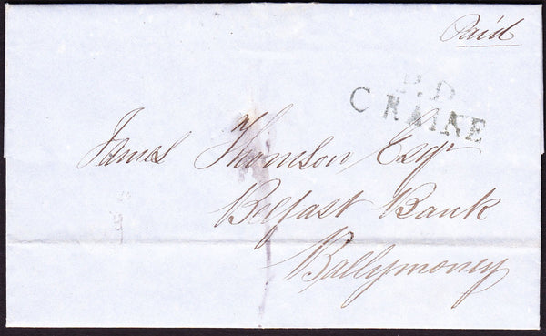 71375 - 1827 IRELAND/'P.D C RAINE' HAND STAMP/INTER BANK MAIL. 1827 entire Belfast Banki...