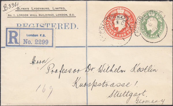 71386 - 1910 REGISTERED MAIL LONDON TO STUTTGART/MINING. Fine privately