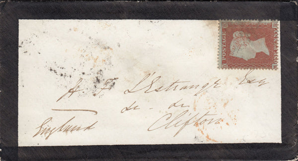 "71444 - PLATE 195 (MH) S.C.16(SG17)/MOURNING ENVELOPE. 1855 mourning envelope to ""H.F.L'Estrange Esq, Cli..."