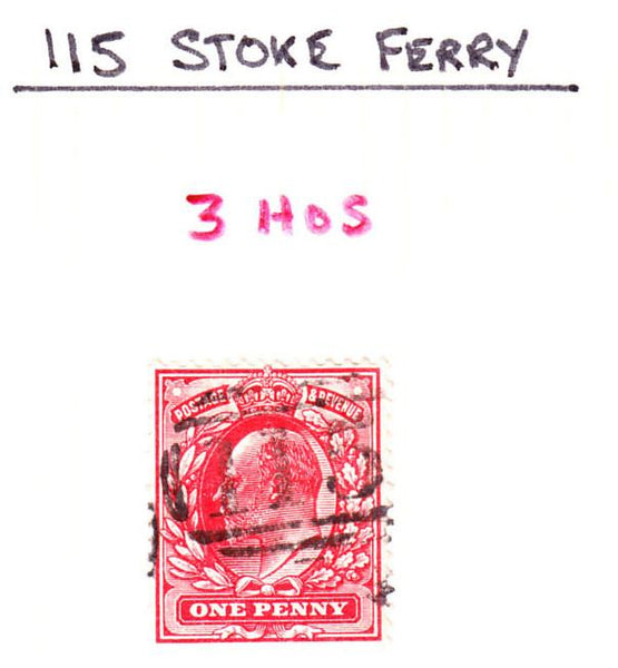 "71563 - NORFOLK. The ""115"" barred numeral of Stoke Ferry. ..."