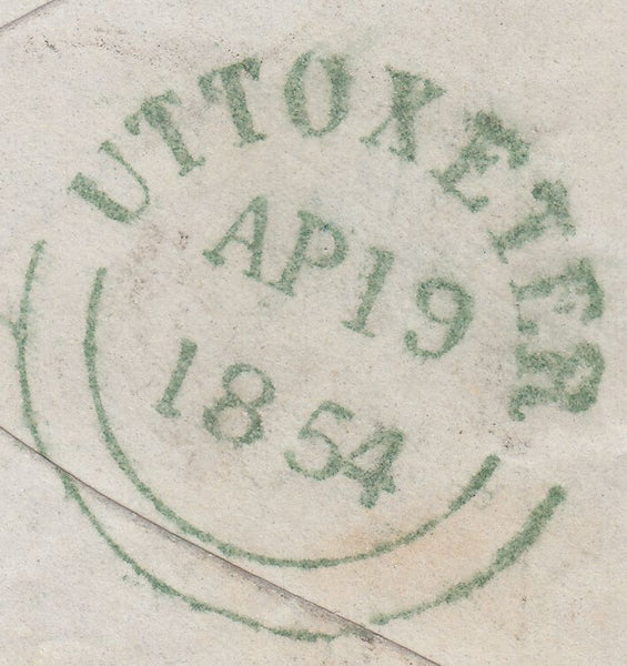 71749 - 1854 1D PLATE 176 IMPERFORATE USED ON COVER (SG8)....