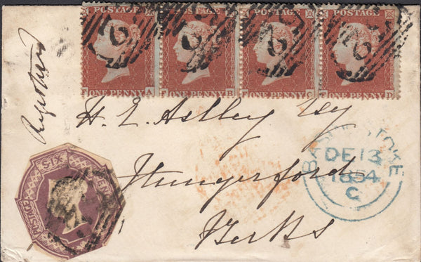 71852 - HAMPSHIRE/REGISTRATION/PLATE 193 (FA FB FC FD). 1854 envelope Basingstoke ...
