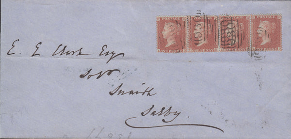 71871 - 1856 PL.37 RED BROWN ON BLUED STRIP OF FOUR ON COVER YORK TO SNAITH. £& PL>large part wrapper York to Snaith with 4 x 1d...