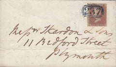 72150 - 1850-1854 1D ARCHER PL.100 (GD) (SG16b) ONLY RECORDED EXAMPLE USED ON COVER F...