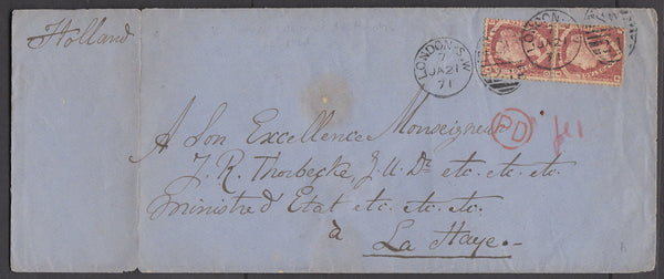 72491 - 1871 MAIL LONDON TO HOLLAND/1½D PL.1 (SG51) PAIR (OA PA). Large envelope (219x90) London to Holland