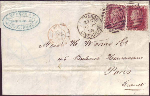 72500 - 1878 wrapper Liverpool to Paris with 1½d shield pl...
